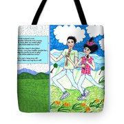Over The Hills And Far Away With Words Tote Bag