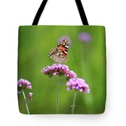Painted Lady Butterfly In Green Field Tote Bag
