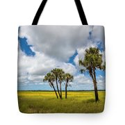 Palm Trees In The Field Of Coreopsis Tote Bag