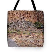 Panorama Of Ancient Tyuonyi Pueblo Dwellings At Bandelier National Monument - Los Alamos New Mexico Tote Bag