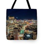 Panoramic View Of The Boston Night Life Tote Bag