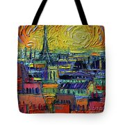 Paris Rooftops View From Centre Pompidou - Textural Impressionist Stylized Cityscape Mona Edulesco Tote Bag