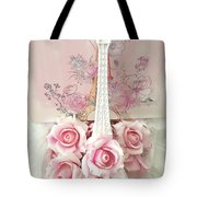 Paris Shabby Chic Pink White Roses Eiffel Tower Baby Girl Nursery Decor - Paris Pink Roses Tote Bag