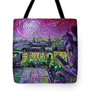 Paris View With Gargoyles Diptych Oil Painting Right Panel Tote Bag