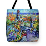 Park Guell Enchanted Visitors - Impasto Palette Knife Stylized Cityscape Tote Bag