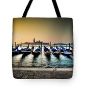Parked Gondolas, Early Morning In Venice, Italy.  Tote Bag