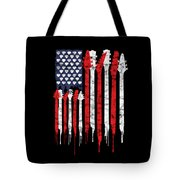 Patriotic Guitar Flag America Lovers Guitar Music Lovers Gifts Tote Bag