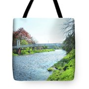 pedestrian bridge over river Tweed at Peebles Tote Bag