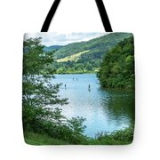 People Use Stand-up Paddleboards On Lake Habeeb At Rocky Gap Sta Tote Bag