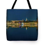 Perfect Stockholm And Gamla Stan Reflection From A Distant Bridge Tote Bag
