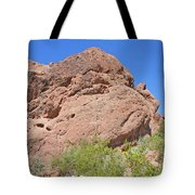 Phoenix Arizona Papago Park  Blue Sky Red Rocks Scrub Vegetation Yellow Flowers 3182019 5340 Tote Bag