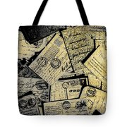 Piled Paper Postcards Tote Bag