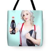 Pin-up Girl Holding Soft Drink Bottle Tote Bag