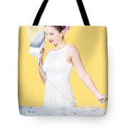 Pin Up Woman Providing Steam Clean Ironing Service Tote Bag