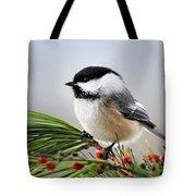 Pine Chickadee Tote Bag