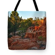 Pine Trees On Red Cliffs Tote Bag