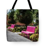 Pink Chairs At Grand Park Tote Bag