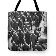 Pit 1 Of Terra Cotta Warriors In Black And White Tote Bag