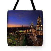 Plaza De Armas And Cathedral Of Arequipa, Peru Tote Bag by Sam Antonio Photography