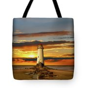Point Of Ayr Lighthouse Sunset Tote Bag by Adrian Evans