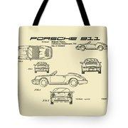 Porsche 911 Patent Drawing Vintage Art Print Tote Bag by David Millenheft