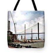 Port Of Savannah Crane Construction Tote Bag