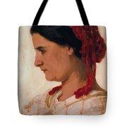 Portrait Of Angela B Cklin In Red Fishnet Tote Bag