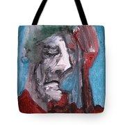 Portrait On Blue Tote Bag