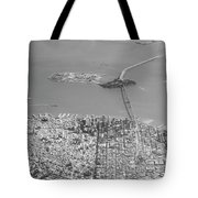 Portrait View Of Downtown San Francisco From Commertial Airplane Tote Bag