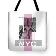 Poster Art Nyc Brooklyn Bridge Details - Pink Tote Bag