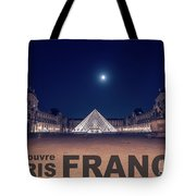 Poster Of  The Louvre Museum At Night With Moon Above The Pyrami Tote Bag