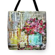 Potted Roses With Candle Tote Bag