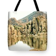 Prescott Arizona Watson Lake Water Mountains Lake Rocks Sky Reflections 4831 Tote Bag