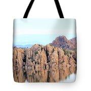 Prescott Arizona Watson Lake Water Mountains Lake Rocks Sky Reflections 4835 Tote Bag