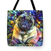 Psychedelic Pug Dog Art Tote Bag by Peggy Collins