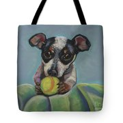 Puppy With Tennis Ball Tote Bag