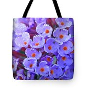 Purple Flowers In The Morning Dew Tote Bag