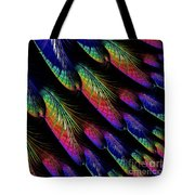 Rainbow Colored Peacock Tail Feathers Fractal Abstract Tote Bag by Rose Santuci-Sofranko