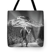 Rear View Of A Sasquatch Hitchhiking Tote Bag