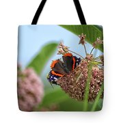 Red Admiral Butterfly On Milkweed Tote Bag