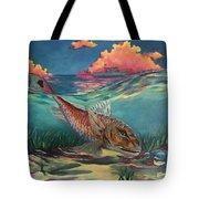 Red Fish Hunt Tote Bag