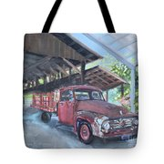 Red Ford And Pink Flowers Tote Bag