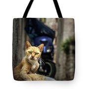 Red Cat With Green Eyes Tote Bag