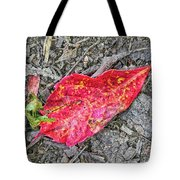 Red Leaf On Green's Hill Tote Bag