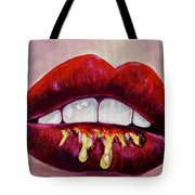 Red Lips With Glitter Tote Bag by Jacqueline Athmann