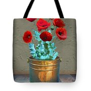 Red Patio Poppies Tote Bag