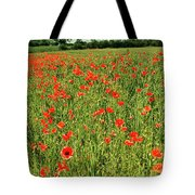 Red Poppies Meadow Tote Bag