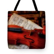 Red Rose And Violin With Sheet Music Tote Bag