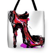 Red Shoe With High Heel Tote Bag