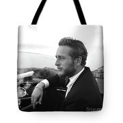 Reflecting, Paul Newman, Movie Star, Cruising Venice, Enjoying A Cuban Cigar, Black And White Tote Bag